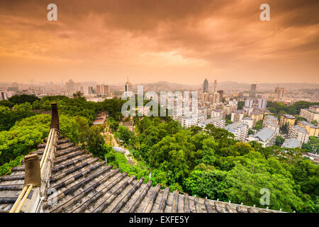 Fuzhou, Fujian, China downtown cityscape from Zhenai Tower. - Stock Photo
