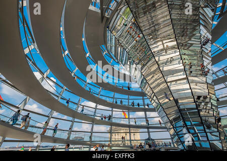 The glass dome above the Reichstag parliament building in Berlin Germany - Stock Photo