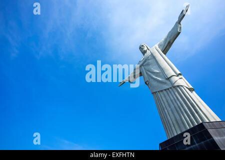 Christ the Redeemer statue in Rio de Janeiro, Brazil. - Stock Photo