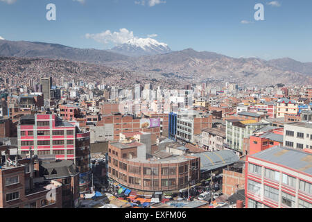 view over la paz from cable car - Stock Photo