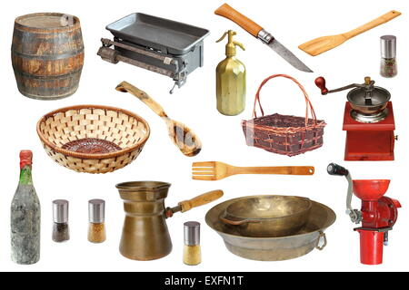 collection of vintage kitchen objects isolated over white background - Stock Photo