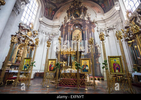 Interior of St. Clement Church, Karlova street, Prague, Czech Republic, Europe - Stock Photo