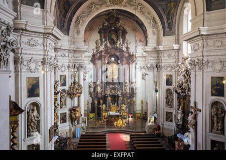 Interior of St. Clement Church, Karlova street, Prague, Czech Republic, Europe - Stock Photo