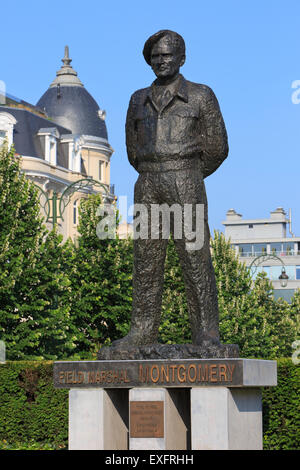 Statue of Field Marshal Bernard Law Montgomery in Brussels, Belgium - Stock Photo