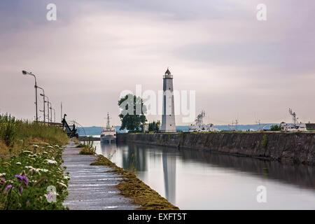 View of embankment in Kronstadt, St. Petersburg, Russia. - Stock Photo