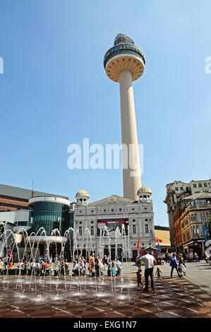 Radio City Tower aka St Johns Beacon Viewing Gallery seen from Williamson Square, Liverpool, Merseyside, England, - Stock Photo