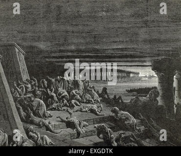 Plague of Darkness. Book of Exodus. Chapter 10, verses 20 to 23. Engraving by Gustave Dore (1832-1883). - Stock Photo