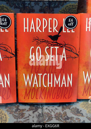 'Go Set A Watchman' by Harper Lee in London bookshop display on day of UK publication 14.07.15 - Stock Photo