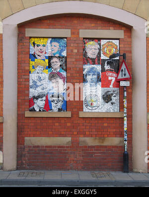 Unveiled in May 2012 these 7 mosaics by local artist Mark Kennedy are on the side of the Afflecks Palace building - Stock Photo
