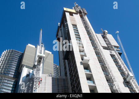 construction of the high rise towers skyscrapers in Sydney's barangaroo precinct in the central business district,Sydney, - Stock Photo