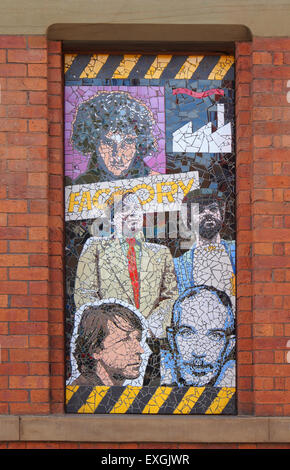 One of 7 mosaics by local artist Mark Kennedy which are on the side of the Afflecks Palace building in Manchester - Stock Photo