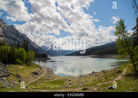 A view across one of the many lakes in Jasper National Park, Canada. - Stock Photo
