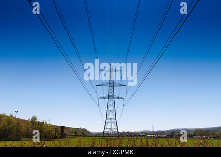 Power lines part of the national grid - Stock Photo