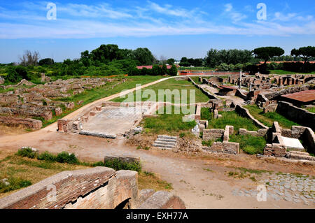 View of the ruins of Ostia Antica, the ancient port of Rome Italy. Picture by Paul Heyes, Tuesday June 2, 2015. - Stock Photo