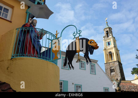 Portmeirion village in Gwynedd North Wales - Stock Photo