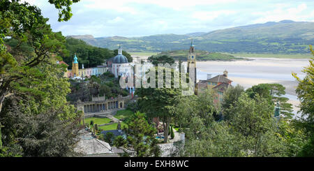 Portmeirion village  Gwynedd, North Wales with the Afon Dwyryd river in the background - Stock Photo