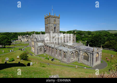 St Davids Cathedral in Pembrokeshire , West  Wales. The building of the present Cathedral began in 1181. - Stock Photo