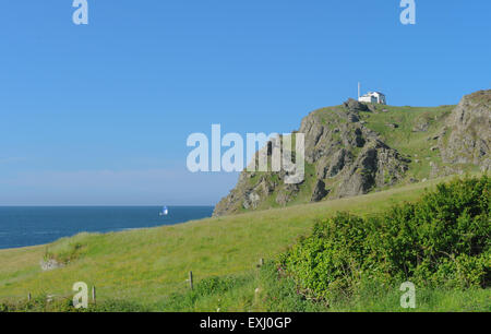 East Prawle Lighthouse on the South West Coastal Path, near Salcombe, on the South Devon Coast, England, UK - Stock Photo