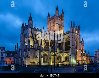 The Northern facade of Bath Abbey at night, Bath, Somerset, England, UK - Stock Photo