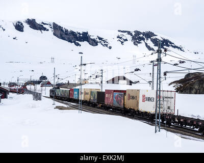 Train passing Finse railway station, area covered wiht snow in late spring, highest railway station on railway Oslo - Stock Photo