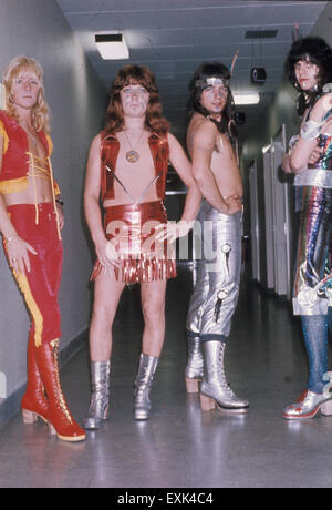 THE SWEET UK glam rock group about 1974. From left: Brian Connolly, Steve Priest,  Andy Scott, Mick Tucker. Photo: - Stock Photo