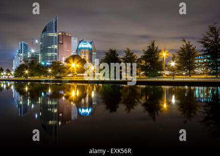 The Hague city skyline at night, with the reflection in a pond on the foreground. The Hague is the seat of the Dutch - Stock Photo