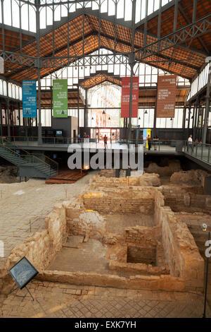 The excavations inside the El Born CC cultural centre, of 18th century Barcelona, Ribera district, Barcelona, Spain - Stock Photo