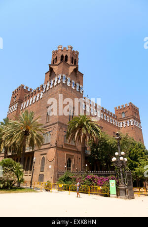 The Castle of the Three Dragons, now the Museum of Natural History in the Parc de la Ciutadella, Barcelona Spain - Stock Photo