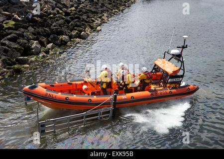 RNLI inshore lifeboat Jessie Hillyard launching Bangor county down northern ireland uk - Stock Photo