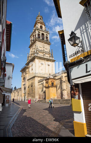 CORDOBA, SPAIN - MAY 26, 2015: The Cathedral tower and walls. - Stock Photo