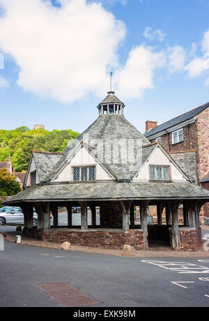 Yarn Market in the centre of Medieval Dunster Village Somerset England - Stock Photo
