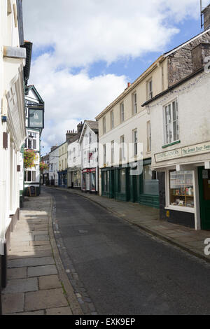 Main Street, Sedbergh, Cumbria, empty of people on an unusually quiet Sunday summer afternoon. - Stock Photo