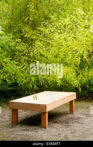 ... Garden Bench, Yashiro Japanese Garden, Olympia, Washington   Stock Photo