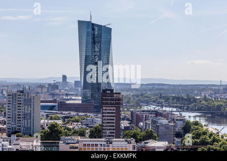 The European Central Bank skyscraper in the city of Frankfurt am Main. July 10, 2015 in Frankfurt Main, Germany - Stock Photo