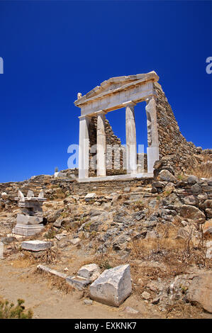 The Temple of Isis (Temple of the Egyptian Gods)  in the archaeological site of the 'sacred' island of Delos, Cyclades, - Stock Photo