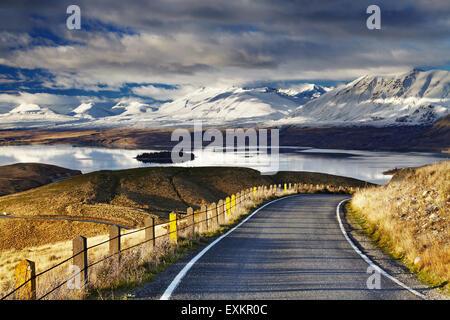 Southern Alps and Lake Tekapo, view from Mount John, Mackenzie Country, New Zealand - Stock Photo