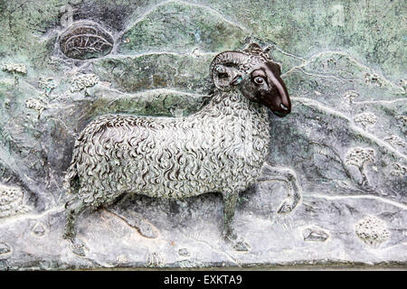 Roman period ram, carved relief on a sarcophagus panel inside the Camposanto Monumentale cemetery. Pisa, Tuscany, - Stock Photo
