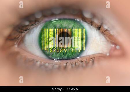 Detail of eye with barcode EAN, European Article Number, on iris, symbolic image, transparent customer - Stock Photo