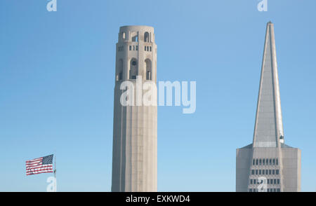SAN FRANCISCO - MAY 15 2015:Coit Tower and Transamerica Pyramid dominant San Francisco skyline, CA.At 853 feet tall, - Stock Photo