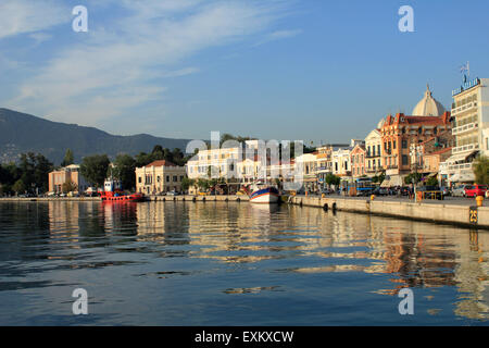 Capital city of Lesbos or Lesvos island, Mytilene and picturesque port reflected on sea surface. - Stock Photo