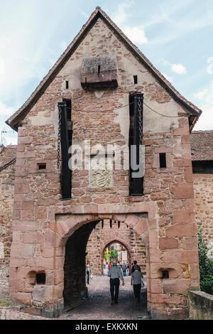Upper Gate (La Porte Haute), Riquewihr, Alsace, France - Stock Photo