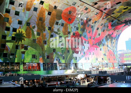 Colourful interior of tropical flowers & fruit on the ceiling of Rotterdamse Markthal (Rotterdam Market hall), at - Stock Photo