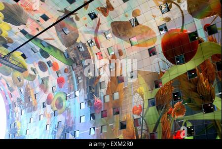 Colourful interior of the Rotterdamse Markthal (Rotterdam Market hall), at Blaak square. - Stock Photo