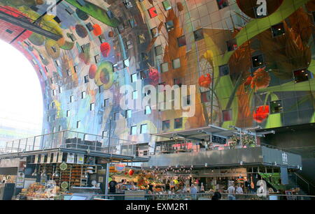 Colourful interior of the Rotterdamse Markthal (Rotterdam Market hall), at Blaak square. - Stock Photo