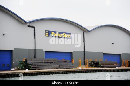 Steel storage at Parker Steel company in Shoreham Port West Sussex England UK - Stock Photo