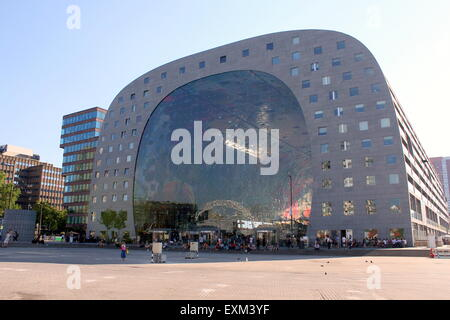 Exterior of the Rotterdamse Markthal (Rotterdam Market hall), at Blaak square. Designed by MVRDV architects, finished - Stock Photo