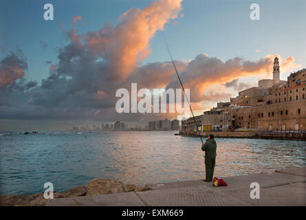 TEL AVIV, ISRAEL - MARCH 2, 2015: The coast under old Jaffa and Tel Aviv in morning. - Stock Photo