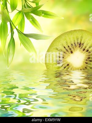 Kiwi reflected in water - Stock Photo