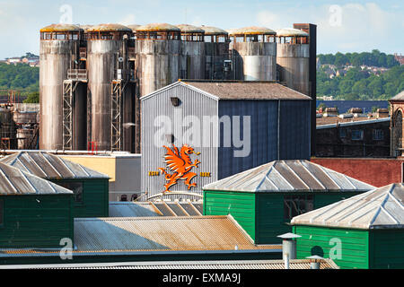 Brains S.A. regional brewery in Cardiff City, Wales. - Stock Photo