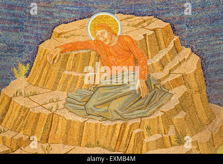 JERUSALEM, ISRAEL - MARCH 3, 2015: The mosaic of Jesus in Gethsemane garden in The Church of All Nations (Basilica - Stock Photo